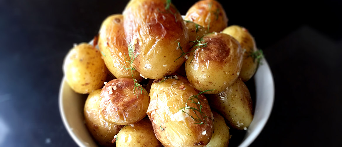 New Potatoes with Garlic, Parmesan, and Dill